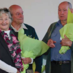 Robin and Ron Davies receiving life membership from Graeme Ingall in 2015